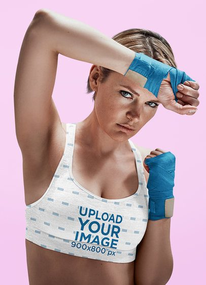 Sports Bra Mockup Featuring a Female Boxer with Bandaged Hands 38564-r-el2