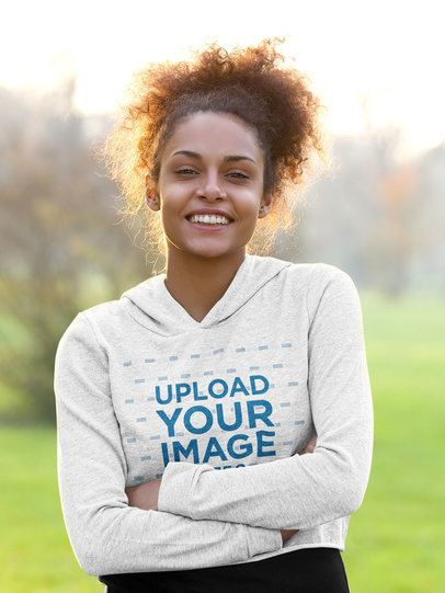 Crop Top Hoodie Mockup of a Happy Woman Posing With Her Arms Crossed 38801-r-el2