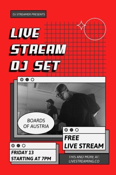 Poster Design Creator for a DJ Live Stream Featuring Retro Computer Tabs 1886a-el1