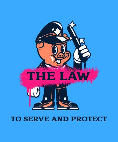 Trendy T-Shirt Design Maker Featuring a Cop Cartoon 2667f