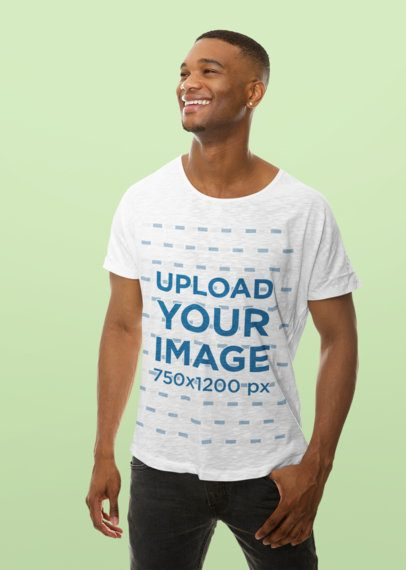 T-Shirt Mockup of a Relaxed Man in a Studio 37762-r-el2