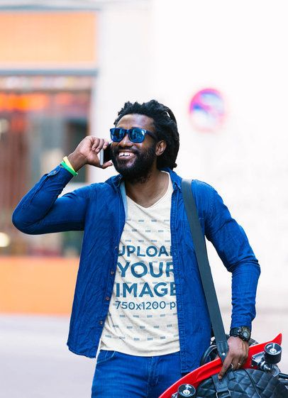 T-Shirt Mockup of a Bearded Man with a Skateboard Talking on the Phone 37785-r-el2