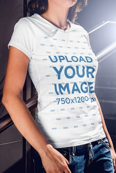 Cropped Mockup of a Woman Wearing a T-Shirt and Leaning Against a Handrail 4804-el1