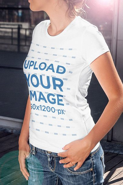 Cropped Face Mockup Featuring a Woman Wearing a T-Shirt 4806-el1