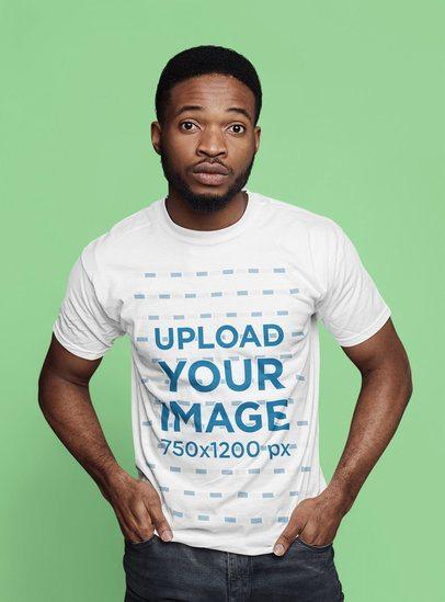T-Shirt Mockup of a Surprised Man in a Studio 34875-r-el2