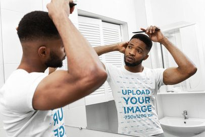 T-Shirt Mockup of a Man Combing His Hair 38814-r-el2