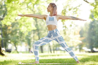 Sports Bra and Leggings Mockup of a Woman Doing a Warrior Yoga Pose 38592-r-el2