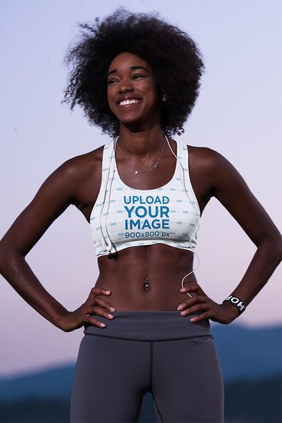 Mockup of a Happy Woman Wearing a Sports Bra While Exercising  38502-r-el2
