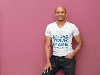 V-Neck T-Shirt Mockup of a Man Leaning on a Wall 37821-r-el2