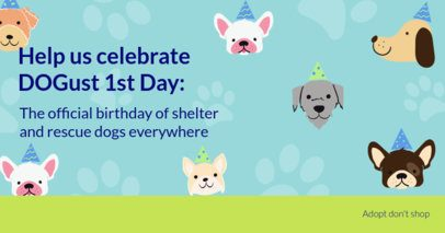 Facebook Post Maker Featuring Puppy Illustrations for a Dogust Celebration 2702