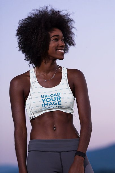 Mockup of a Woman Wearing a Sports Bra and a Big Smile 38504-r-el2