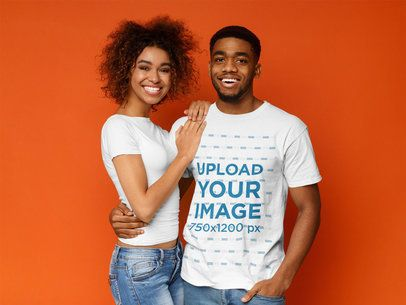 T-Shirt Mockup of a Man Posing with His Girlfriend at a Studio 38636-r-el2