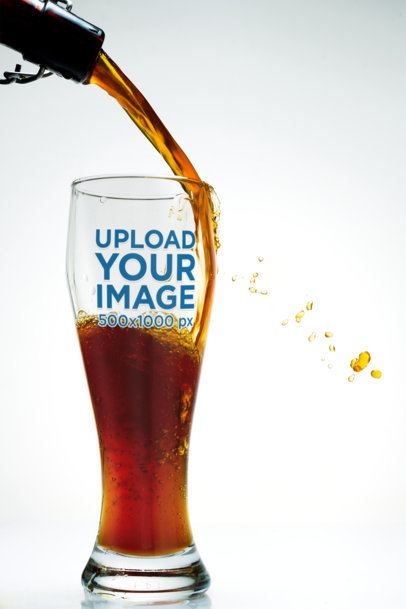 Mockup of Someone Pouring Beer Into a Tall Glass 35986-r-el2