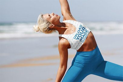 Sports Bra Mockup Featuring a Woman in a Yoga Pose at the Shore 38372-r-el2