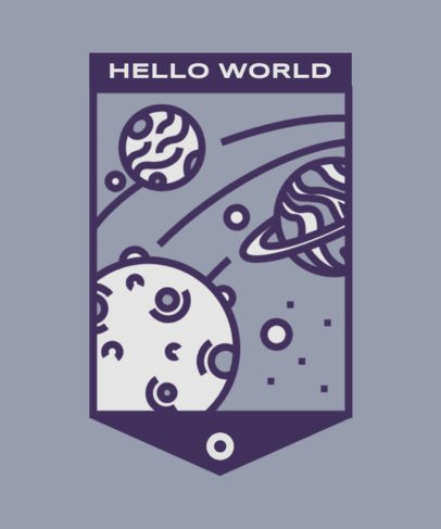 T-Shirt Design Template with a Simple Illustration of a Planetary System 2088c-el1