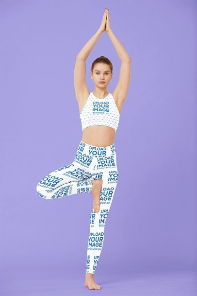 Sports Bra and Leggings Mockup of a Female Yogi in a Studio 38658-r-el2