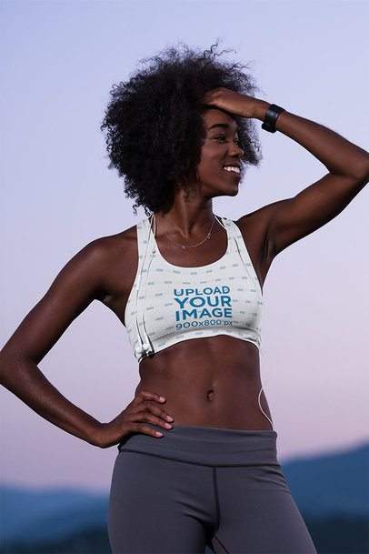 Sports Bra Mockup of a Happy Woman Exercising in the Outdoors 38506-r-el2
