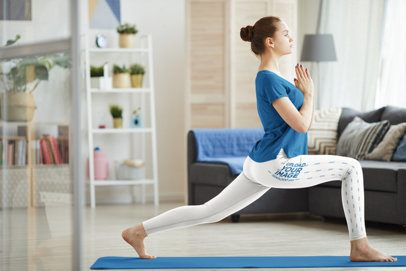 Side View Leggings Mockup of a Woman Doing Yoga at Home 38418-r-el2