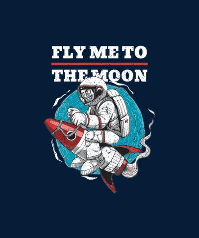 Space-Themed T-Shirt Design Generator  Featuring an Astronaut on a Rocket Ship 2078e-el1