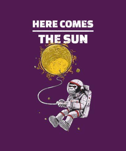 T-Shirt Design Template Featuring an Evil-Looking Astrochimp Illustration 2078d-el1