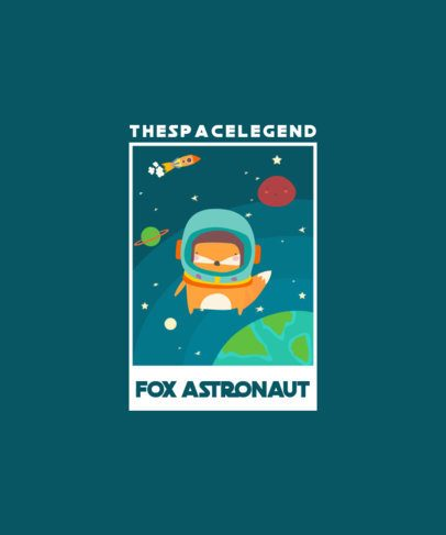 Space T-Shirt Design with a Fox Floating in Space 2096c-el1