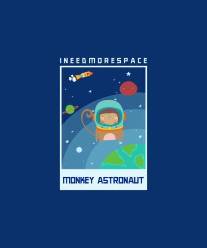 T-Shirt Design with the Illustration of a Monkey in Space 2096e-el1