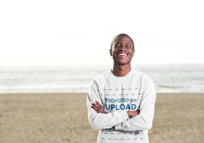 Crewneck Sweatshirt Mockup of a Happy Man on the Beach 38836-r-el2