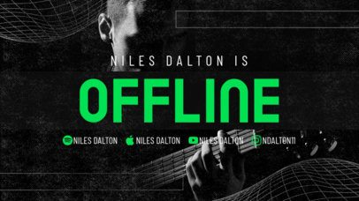 Twitch Offline Banner Maker Featuring a Dark Layout for a Musician's Channel 2705i