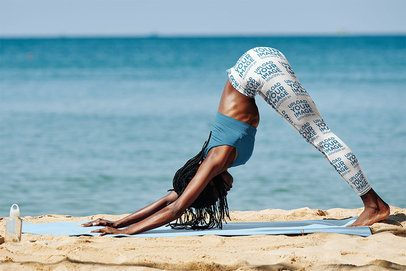 Sublimated Leggings Mockup of a Woman Practicing Yoga by the Sea 38719-r-el2