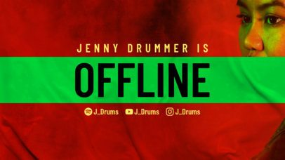 Twitch Offline Banner Template with a Grunge Aesthetic for a Drummer 2805a