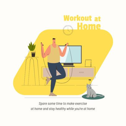 Illustrated Instagram Post Design Generator Featuring a Man Working Out at Home 1998b-el1
