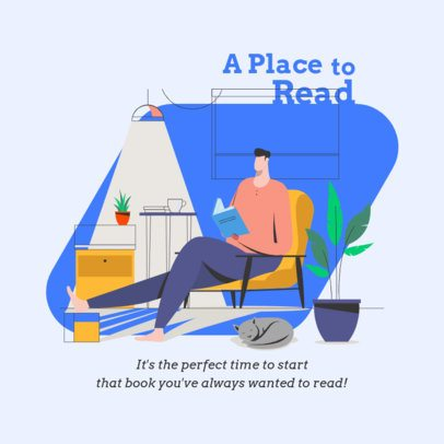 Instagram Post Design Generator Featuring an Illustration of a Man Reading at Home 1998e-el1