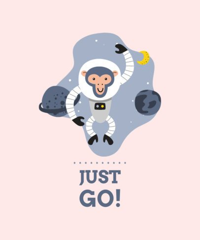 Illustrated T-Shirt Design Maker with a Silly Monkey in Space 2179c-el1