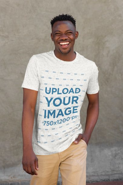T-Shirt Mockup of a Smiling Man in a Casual Outfit 38847-r-el2