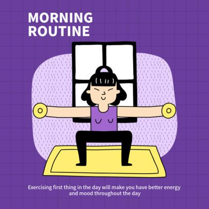 Instagram Post Template with Tips to Create a Morning Routine 1975c-el1