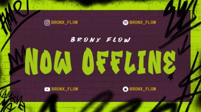 Twitch Offline Banner Maker for a Music Channel with Graffiti Graphics 2703i