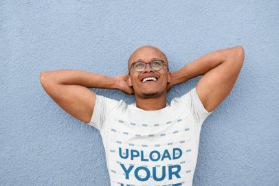 T-Shirt Mockup of a Joyful Man with Glasses 38841-r-el2