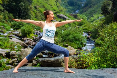 Tank Top Mockup Featuring a Woman Practicing Yoga by a River 38450-r-el2