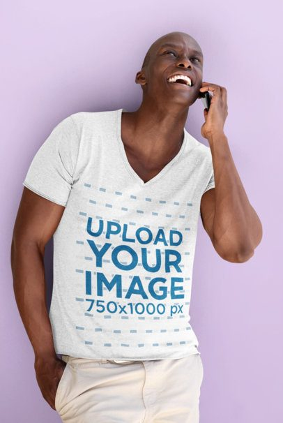V-Neck T-Shirt Mockup of a Happy Man on the Phone 38843-r-el2
