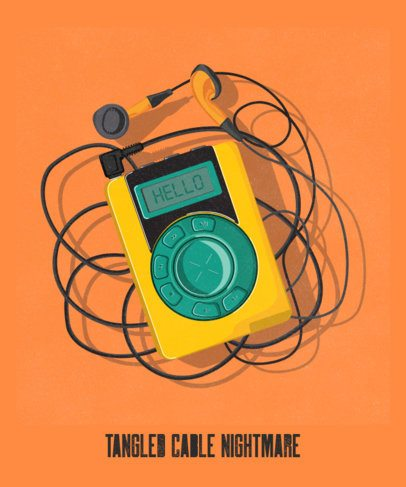T-Shirt Design Generator Featuring a Retro MP3 Player 2694c
