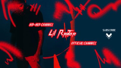 YouTube Banner Template for a Hip-Hop Channel Featuring Graffiti Icons 2704e