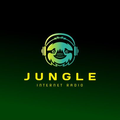 Logo Template for an Internet Radio Station Featuring a Sloth Graphic 3427i