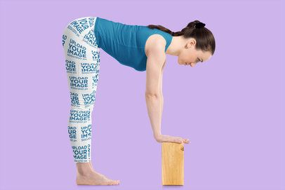 Leggings Mockup of a Woman Using a Yoga Block 38429-r-el2