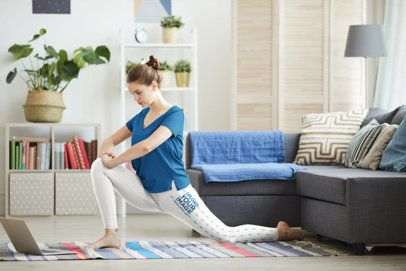 Side-View Leggings Mockup of a Woman Doing a Yoga Class at Home 38419-r-el2