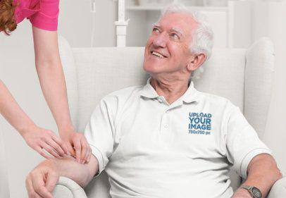 Polo Shirt Mockup of an Elderly Man at a Nursing Home 39162-r-el2