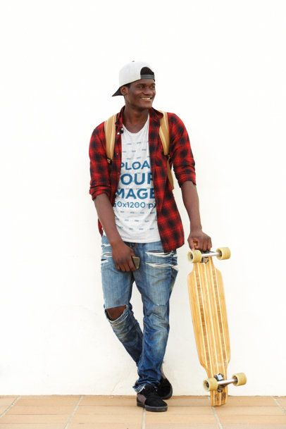 T-Shirt Mockup of a Man Casually Holding a Longboard 38925-r-el2