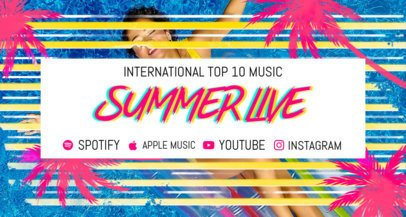 Twitch Banner Design Template with a Summer Vibe for Musicians 2721