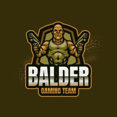 Logo Maker of a Bald Soldier with Guns 2134a-el1
