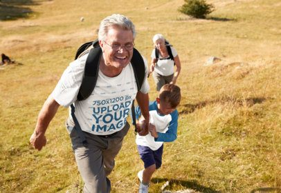 T-Shirt Mockup of a Senior Man Hiking with His Family 39051-r-el2