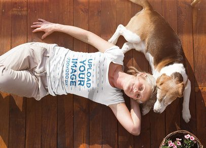 Tee Mockup of an Elderly Woman Lying Next to Her Dog 39025-r-el2